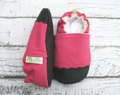 Organic Vegan Heavy Canvas Bright Pink / non-slip soft sole baby shoes / made to order / Babies Toddler Preschool