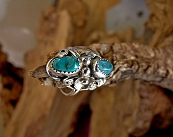 Sterling Silver Floral Ring with Two Turquoise Stones RF668