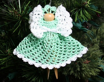 Angel Ornament - Crocheted Clothespin Angel Holiday Christmas Tree Ornament - Hattie in Green - Free U.S. Shipping