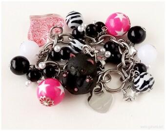 Black Cat Bracelet, Kawaii Charms, Chunky Stainless Steel Chain - Harajuku fashion