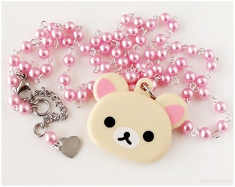 Fairy Kei Korilakkuma Necklace, Pastel Pink, Mirror Charm, Kawaii, Sweet Lolita