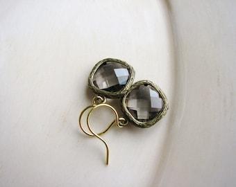 Smoky Grey Earrings Small Jewel Earrings Bezel Glass Gem Earrings Earrings Spring Jewelry Estate Style Earrings Glam Minimalist Earrings