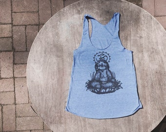 Meditating Sloth / Om / Yoga inspired pastel Tank Top / American Apparel Racer back Tank Top in soft Blue / Periwinkle