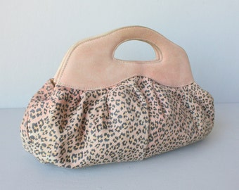 Suede Clutch Purse | Leopard Print Bag | Pink Suede Bag | Pink Clutch | Made In Italy
