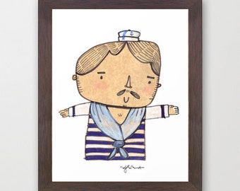 Cute Sailor Print - Cute Sailor Doodle illustration - Sailor Digital Art Print - ACEO, ATC, Artist Trading Cards - Nautical theme decor