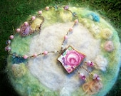 Broken China Necklace, Recycled Broken China, Pink Cabbage Rose,Handmade Bezel