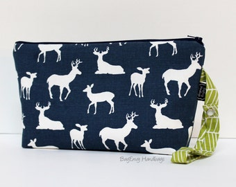 Deer Crossing with Lime Herringbone - Zippered Diaper Clutch - Or Custom Design Your Own