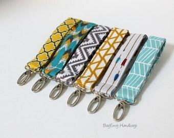 Key Chain / Key Fob - Swivel Clasp Key Wristlet - Aztec / Chevron / Arrows  - Choose Your Fabric - Sale