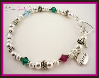 Bracelet with family birthstones and charm or Mother dangle- fabulous custom made jewelry for Mom or Grandma- choose size and colors
