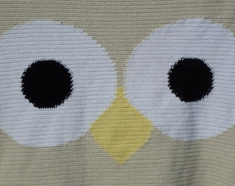 Owl Crocheted Blanket - Snuggle Size - Twin Size - Comforter - Bed Spread - FREE SHIPPING - MAde to Order - 6 Week Production Time