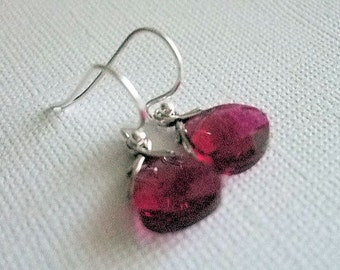 Crystal Earrings Ruby, Sterling Silver Ear Wires, July Birthday, Everyday