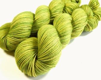Hand Dyed Yarn - Sport Weight Superwash Merino Wool Yarn - Lettuce Tonal - Knitting Yarn, Sock Yarn, Sport Yarn, Bright Green Yarn
