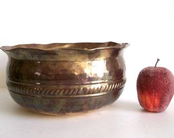 Large Brass Bowl, Brass Planter, Hammered Design Bowl, Home Decor