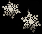 Sterling Silver Winter Floral Snowflake Earrings - Ice Queen - FALLING SNOW