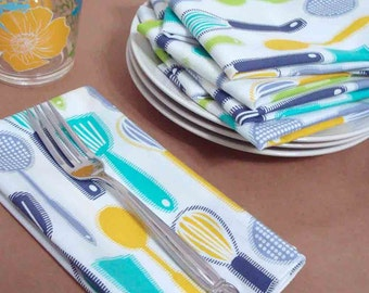16 inch Everyday Dinner Napkins - set of four in Modern Kitchen Utensil washable cotton print