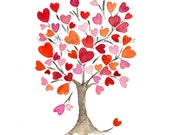 Personalized art print Hearts tree No.2 Valentine art , anniversary, weddings, girls room, dorm decor, mothers day, Pink orange hearts tree