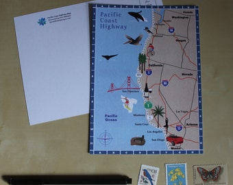 Pacific Coast Highway Map Postcard - Illustrated Map