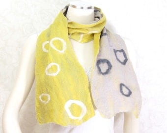 Cobweb Felted Scarf Wool Scarf Gift for Her Chunky Winter Scarf Winter Accessory Yellow Scarf Womens Scarf in Yellow and Gray OOAK  TAFA