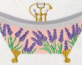 LAVENDER BATHTUB- Machine Embroidered Quilt Block (AzEB)