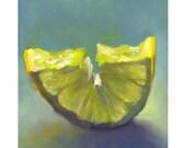 Lemon Slice art print of oil painting / fruit still life painting / kitchen art / Home Decor / dining room / poster for home bar