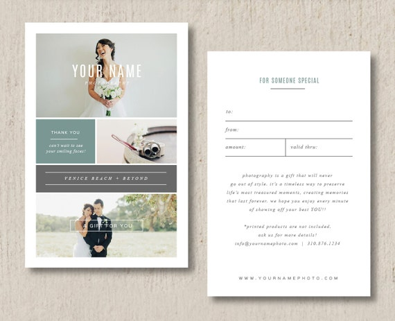 Photographer Gift Card Template - Wedding Photography Marketing ...