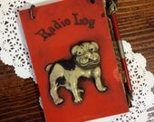 Rare Vintage Plastic Radio Log with Bulldog and Matching Pencil