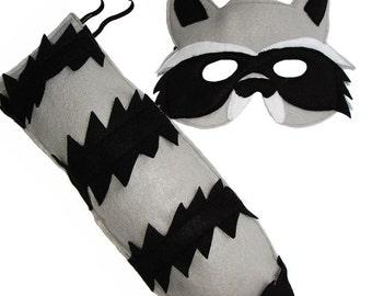 Children's Woodland Animal RACCOON Felt Mask and Tail Set