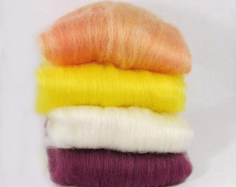 BFL/Silk Apricot Yellow White Plum Batts - 4 ounces