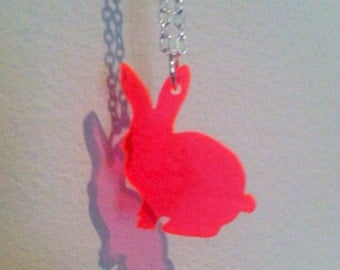 Rabbit Necklace in Neon Pink Bunny Lasercut Fluorescent Acrylic, Animal Jewelry
