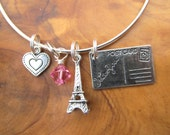 PARIS -Sending Our Love- Adjustable Bracelet - Eiffel Tower, Postcard and Heart Charms- Choose any crystal