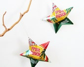 Tahitian Treat Stars Christmas Ornaments Soda Can Upcycled Yellow