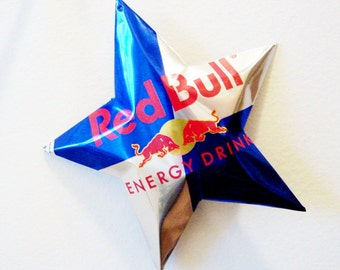 Red Bull Blue Energy Star Ornaments Soda Can Upcycled