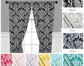 Damask Curtain Panels Drapery Panels Curtains Home Decor Panels Drapes Window Treatments Black Yellow Gray Navy Blue