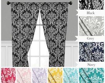 Floral Damask Curtain Panels Drapery Panels Curtains Home Decor Custom Drapes Window Treatments Black Yellow Gray Navy Blue