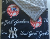 New York Yankee's Minky Dot Baby Blanket
