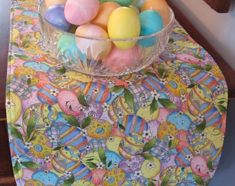 Reversible table runners placemats napkins by tracystreasuresri easter egg table runner 36 reversible table runner yellow easter table runner decorated egg runner negle Image collections