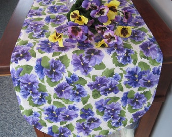 Purple Pansy Table Runner 36 inch Reversible Purple Table Runner Spring Pansy Table Runner Lavender Table Runner Lavender Pansy Table Runner