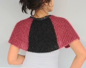 Cozy Evening Cape Knitted Poncho Capelet, Burgundy Shoulder Wrap, Bridal Formal Cover-up Cozy Knitted, Marsala, Black, Handmade