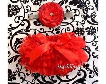 Ready to ship. Valentine's day set- Red bow bum and Baby Girl Headband Set- Red Bloomer, RED Headband, Jewel flower headband,newborn photos