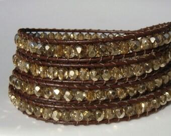 Gold Beaded Leather Wrap Bracelet READY TO SHIP