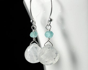 Moonstone Earrings, Rainbow Moonstone Drop Earrings