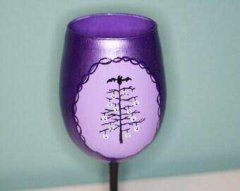 Purple Violet Goth Creepmas Tree - Hand Painted Wine Glass