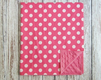 Pink and White Baby Blanket, Pink Minky Baby Blanket, Pink Polka Dot Baby Blanket