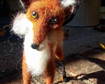 Needle Felted Fox, All Wool