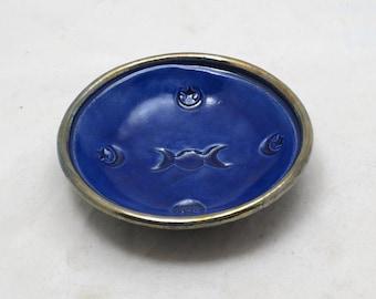 Triple  Moon Offering Bowl Handmade Ceramic Raku Pottery