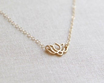 Gold Lotus Necklace | Delicate and Dainty Chain Necklace