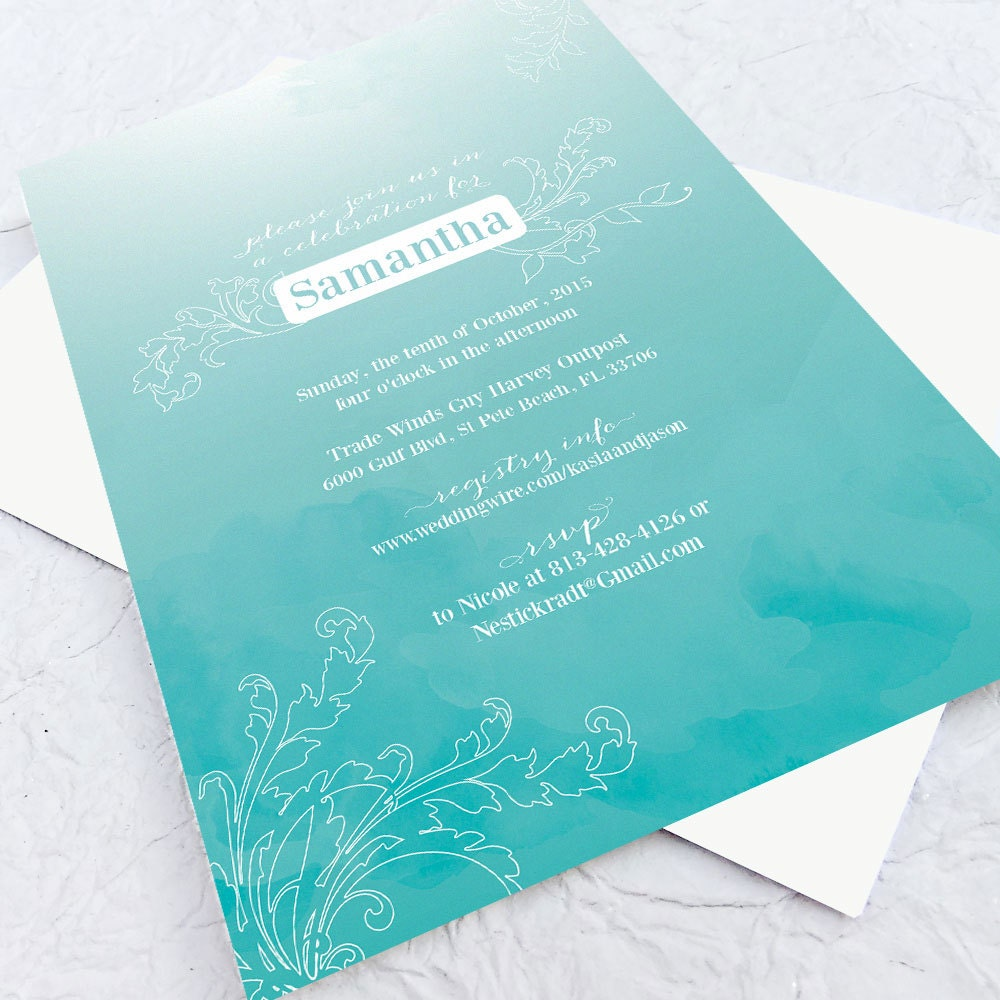 Bridal shower invitation custom printable pdf aqua for Custom wedding shower invitations