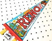 Vintage Reno, Nevada Souvenir Felt Pennant (1970s)