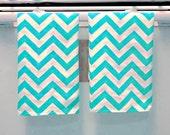Dish Towels Set of 2, Teal Chevron Print, Tea Towel Gift Set, Teachers Gift, Home Decor, Clean Modern Kitchen, Over 40 patterns