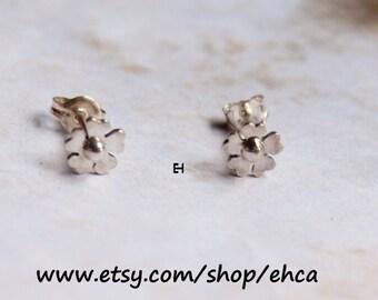 Handmade 6mm Sterling Silver Plum Blossom Post Earrings